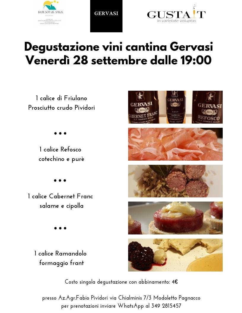 Degustazione vini cantina Gervasi: vi aspettiamo venerdì 28 settembre dalle 19:00