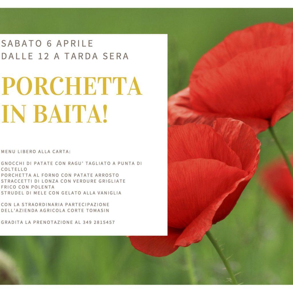 Porchetta in Baita: sabato 6 aprile dalle 12 a tarda sera